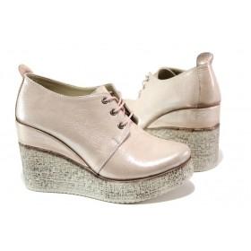 Дамски обувки на платформа - естествена кожа - розови - EO-13528