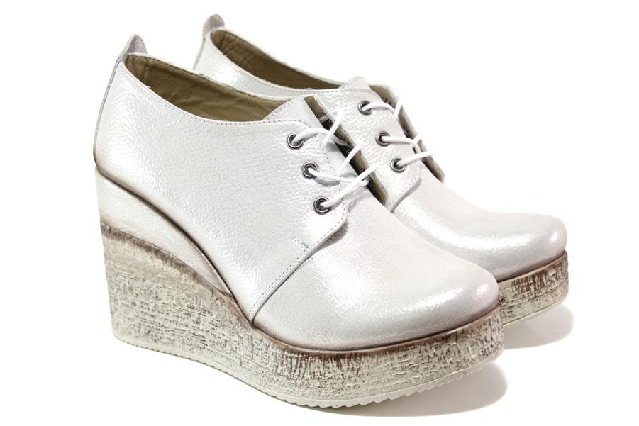 Дамски обувки на платформа - естествена кожа - сребро - EO-13527