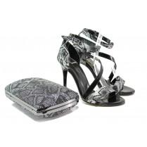 Дамски сандали - висококачествена еко-кожа - черни - EO-13575