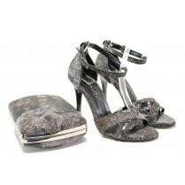 Дамски сандали - висококачествена еко-кожа - черни - EO-13574