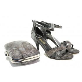 Дамски сандали - висококачествена еко-кожа - черни - EO-13576