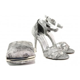 Дамски сандали - висококачествена еко-кожа - сиви - EO-13573