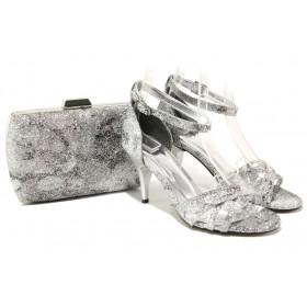 Дамски сандали - висококачествена еко-кожа - сиви - EO-13577