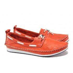 Равни дамски обувки - естествена кожа - червени - EO-13551