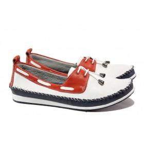 Равни дамски обувки - естествена кожа - бели - EO-13553