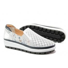 Равни дамски обувки - естествена кожа - сребро - EO-13542
