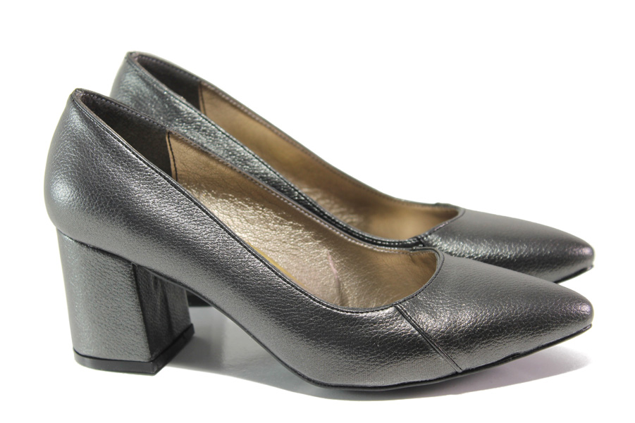 Дамски обувки на среден ток - висококачествена еко-кожа - сиви - EO-13545