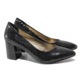 Дамски обувки на висок ток - висококачествена еко-кожа - черни - EO-13547