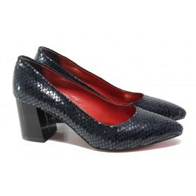 Дамски обувки на висок ток - висококачествена еко-кожа - тъмносин - EO-13546