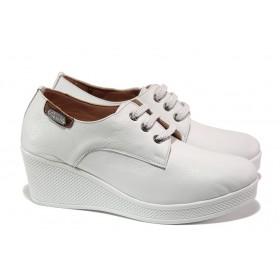 Дамски обувки на платформа - естествена кожа - бели - EO-13557
