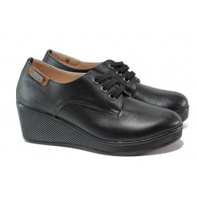 Дамски обувки на платформа - естествена кожа - черни - EO-13556