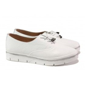 Равни дамски обувки - естествена кожа - бели - EO-13563