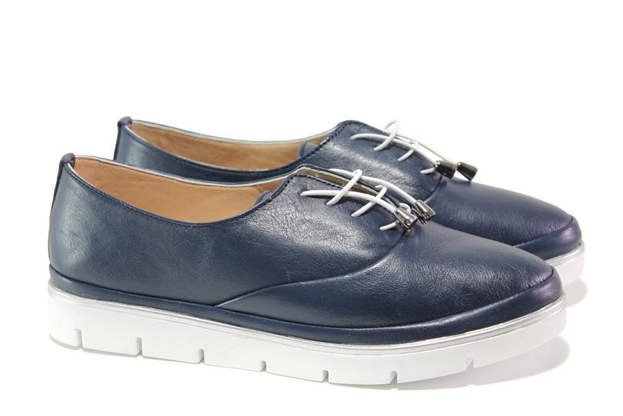 Равни дамски обувки - естествена кожа - тъмносин - EO-13561