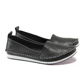 Равни дамски обувки - естествена кожа - черни - EO-13549