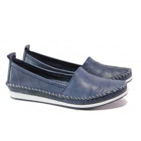Равни дамски обувки - естествена кожа - тъмносин - EO-13548