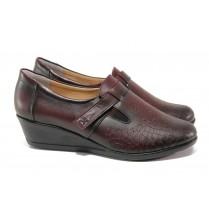 Дамски обувки на платформа - естествена кожа - бордо - EO-13554
