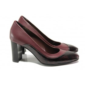 Дамски обувки на висок ток - естествена кожа - бордо - EO-13569