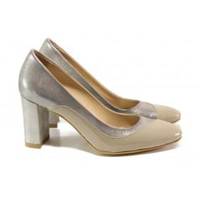 Дамски обувки на висок ток - естествена кожа - бежови - EO-13570