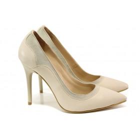 Дамски обувки на висок ток - естествена кожа - бежови - EO-13564