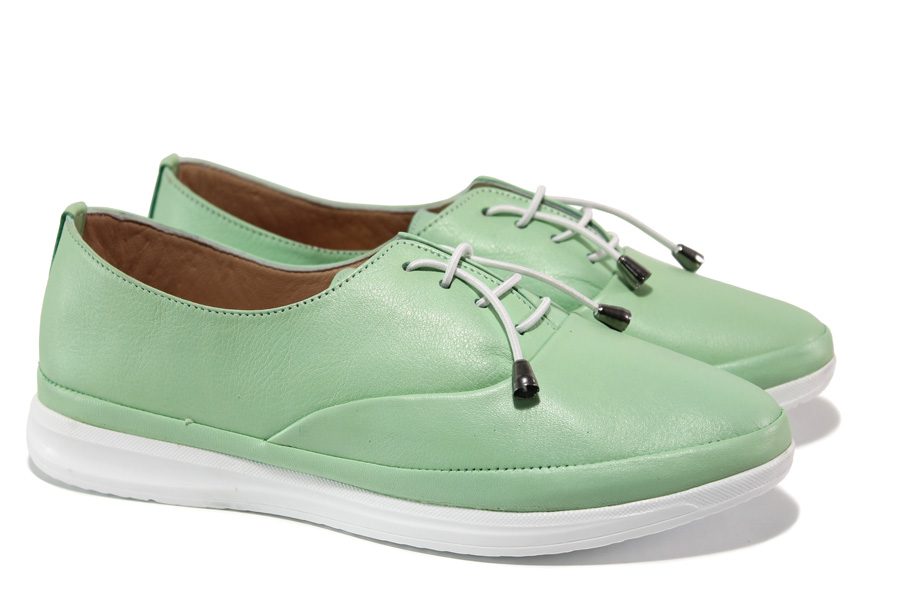 Равни дамски обувки - естествена кожа - зелени - EO-13571