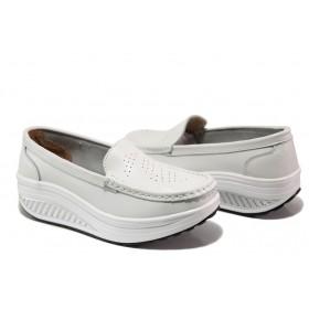 Дамски обувки на платформа - естествена кожа - бели - EO-13602