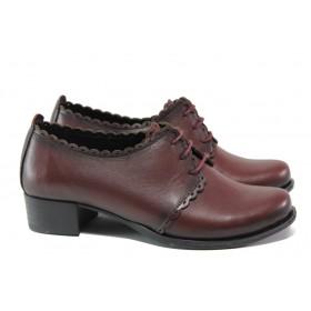 Дамски обувки на среден ток - естествена кожа - бордо - EO-13659