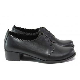 Дамски обувки на среден ток - естествена кожа - черни - EO-13660