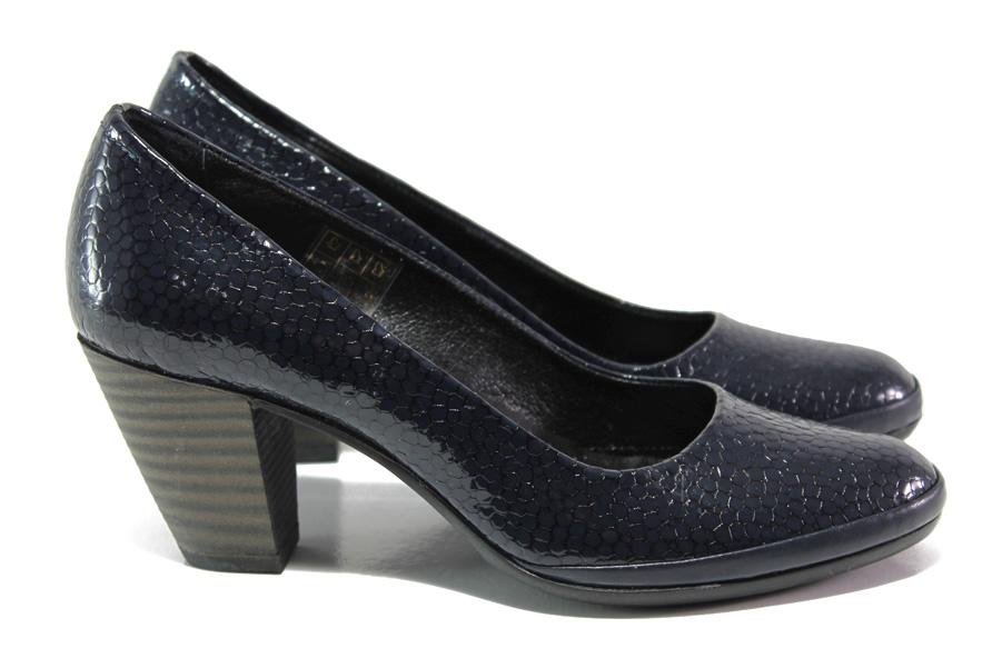 Дамски обувки на среден ток - естествена кожа-лак - тъмносин - EO-13656