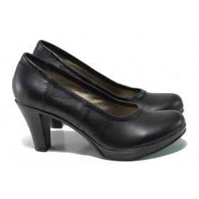 Дамски обувки на висок ток - естествена кожа - черни - EO-13648
