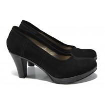 Дамски обувки на висок ток - естествен набук - черни - EO-13647