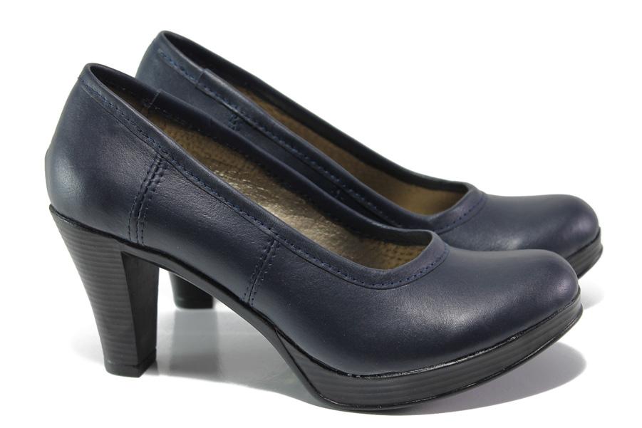 Дамски обувки на висок ток - естествена кожа - тъмносин - EO-13649