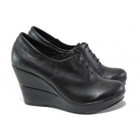 Дамски обувки на платформа - естествена кожа - черни - EO-13641