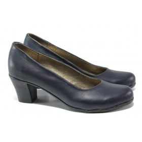 Дамски обувки на среден ток - естествена кожа - тъмносин - EO-13644