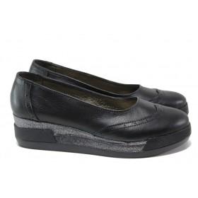 Дамски обувки на платформа - естествена кожа - черни - EO-13652