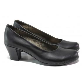 Дамски обувки на среден ток - естествена кожа - черни - EO-13645