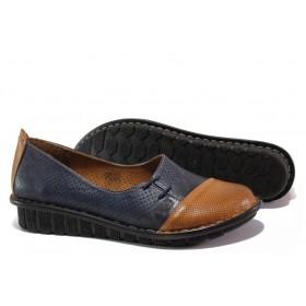 Равни дамски обувки - естествена кожа - тъмносин - EO-13678