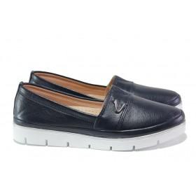 Равни дамски обувки - естествена кожа - тъмносин - EO-13679