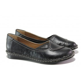 Равни дамски обувки - естествена кожа - черни - EO-13681
