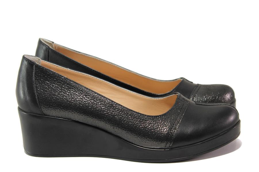 Дамски обувки на платформа - естествена кожа - черни - EO-13683
