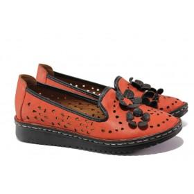 Равни дамски обувки - естествена кожа - червени - EO-13669