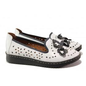 Равни дамски обувки - естествена кожа - бели - EO-13668