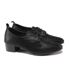 Дамски обувки на среден ток - естествена кожа - черни - EO-13684