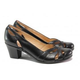 Дамски обувки на среден ток - естествена кожа - черни - EO-13773