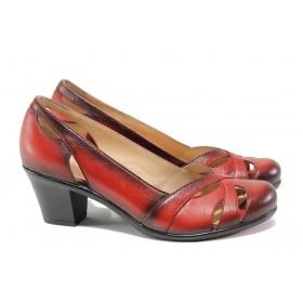 Дамски обувки на среден ток - естествена кожа - червени - EO-13774