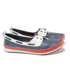 Равни дамски обувки - естествена кожа - тъмносин - EO-13769