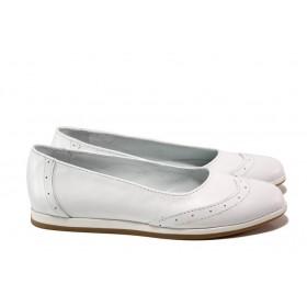 Равни дамски обувки - естествена кожа - бели - EO-13777