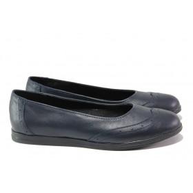 Равни дамски обувки - естествена кожа - тъмносин - EO-13776