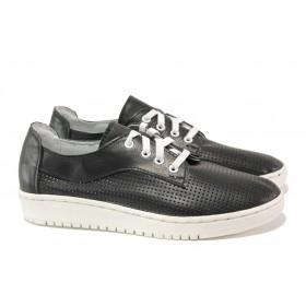 Равни дамски обувки - естествена кожа - черни - EO-13806