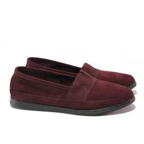 Равни дамски обувки - естествен набук - бордо - EO-13778