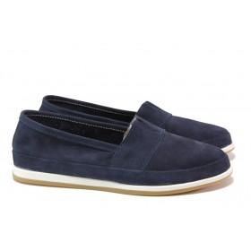 Равни дамски обувки - естествен набук - тъмносин - EO-13780